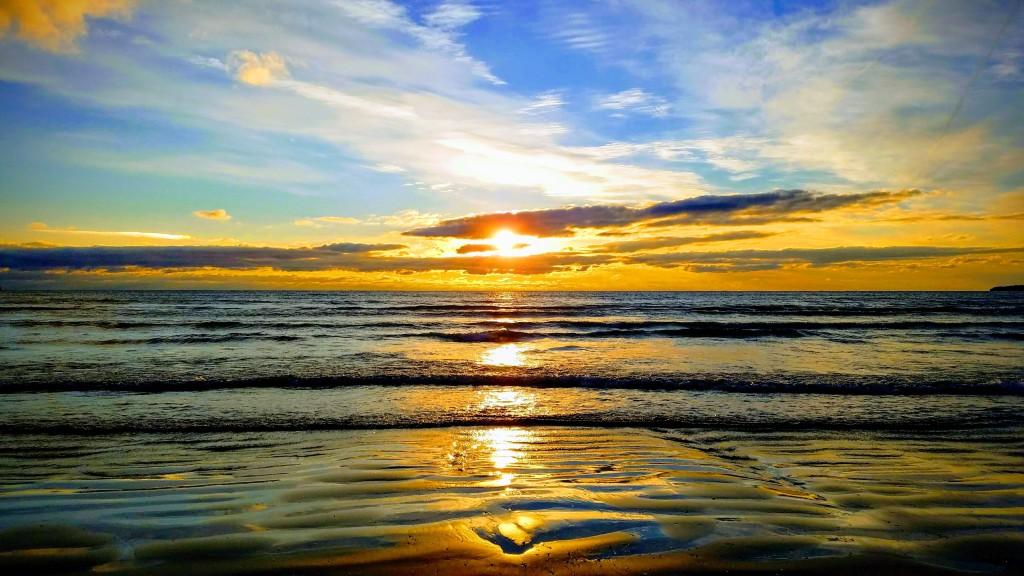 sunsetting on the beach